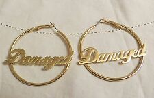 """SUICIDE SQUAD HARLEY QUINN """"DAMAGED"""" HOOP EARRINGS MAD LOVE LICENSED PRODUCT"""