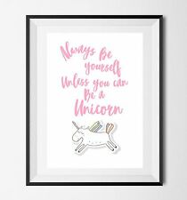 Inspirational Quote Poster Art Print A4 Typography Decor gift wall decor Unicorn