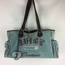 Juicy Couture Baby Diaper Bag Tote Blue Brown Quilted Fleece Polyester Cotton