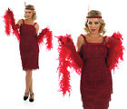 Ladies Red Flapper Fancy Dress Costume 20S Charleston Gatsby Girl Outfit
