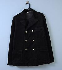 Vintage French Worker Chore Cord Jacket in Black Double Breasted Medium EU 50