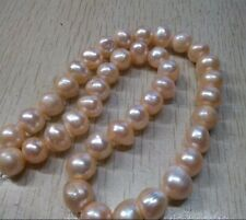 "18""AAA++ 9-10MM AKOYA REAL PINK BAROQUE PEARL NECKLACE 14K"