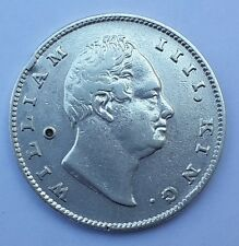 1835 East India Company British Silver 1 Rupee Coin - WILLIAM IIII - Initial: RS
