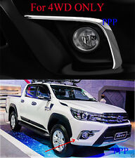 4WD CHROME FOG LIGHT LAMP LINE COVER FOR TOYOTA HILUX REVO 2015 2016 PICKUP FIT