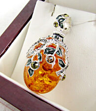GORGEOUS SOLID STERLING SILVER 925 GENUINE AMBER RUSSIAN ENAMELED PENDANT