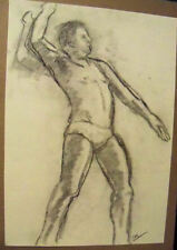 """""""MALE FIGURE"""" by Ruth Freeman DRAWN  IN CHARCOALFROM LIFE 16"""" X 22 3/4"""""""