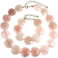 Heart natural rose quartz gentle pink stone necklace and bracelet jewellery set