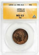 1896 ANACS MS 63 RB Canada 1c Large Cent Red Brown #98994 R