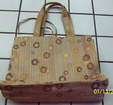 WOMEN'S PURSE TOTE BAG TAN, STRIPE WITH CIRCLES AND GLITTER REVERSIBLE  NWT