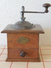 OLD French COFFEE GRINDER MILL 1890's - Brass plate PEUGEOT&Cie PONT DE ROIDE