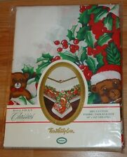 "CHRISTMAS TEDDY BEARS cloth Holiday TABLECLOTH NEW in Package 60"" x 102"" Oblong"