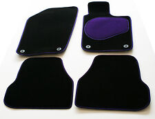 Chevrolet Aveo 2nd Gen 12  Perfect Fit Black Car Mats - Purple Trim & Heel Pad