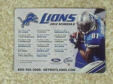 2012 Detroit Lions NFL Calvin Johnson Bud Light team issued magnet schedule