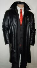 "RUFFO Italy Black Luxury Soft Leather 3/4 Length OVERCOAT Jacket 42"" & 46"""