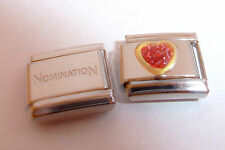 RED GLITTER LOVE HEART 9mm Italian Charm + 1x Genuine Nomination Classic Link
