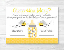 """Yellow & Grey Bumble Bee Gender Neutral Baby Shower """"Guess How Many?"""" Game Cards"""