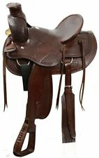 Buffalo 16: Rawhide Cantle & Horn Basketweave Tooled Wade Style Ranch Saddle