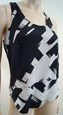 ROBERT RODRIGUEZ Black Grey White Silk Geometric Print Sleeveless Top Sz:2 UK6