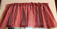 Red And White Gingham Window Curtain Valance Cotton fabric