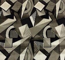 "LARSEN TOSHIBI BLACK WHITE GEOMETRIC VELVET UPHOLSTERY FABRIC 1.5 YARDS 51""W"