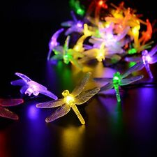 Outdoor 30 LED Solar String Fairy Lights Dragonfly 4 Colors Garden Fence Party