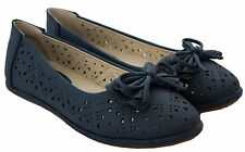 WOMENS LADIES FLAT BALLET BALLERINAS DOLLY PUMPS OFFICE WORK CASUAL SHOES UK3-8