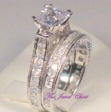 3 Ct Princess Solitaire Diamond Antique Engagement Ring Wedding set White gold
