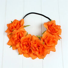 Large Rose Flower Hair band Crown Festival Headband Garland Boho