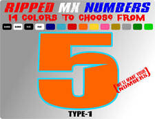 RIPPED 2 COLOR MX NUMBER PLATE RACING DECALS SUPERCROSS CAR MOTORCYCLE STICKERS