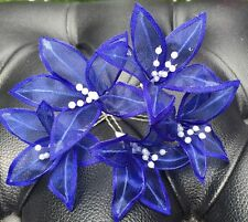 5 Wedding Prom  Shiny Navy Blue Lily Flower Hair Pins Clips Grips handmade