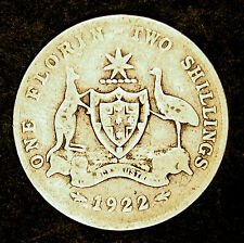 Silver 1922  Florin - King George V -  average circulated condition