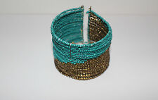 FREE PEOPLE BRACELET CUFF TURQUOISE GOLD BEADS STRETCH WIDE #160