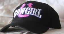 Black Baseball Hat with Horseshoe Cowgirl Applique CM-2