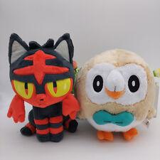 set of 2 pokemon Litten Rowlet stuffed Plush toy doll new 18cm
