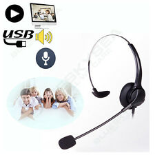 2X USB2.0 Stereo Headset Earphone Headphone with Mic for Computer Laptop 2M Wire
