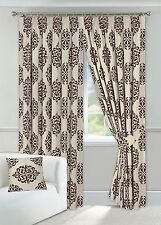 "One Pair of 90"" x 90"" Brown & Cream Curtains Pencil Pleated Fully Lined Tiebacks"