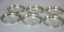 6 Sterling Silver Rimmed Cut Crystal Coasters Coaster  Set Frank M Whiting