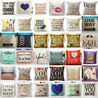 18 Inch Fashion Letter Cotton Linen Square Throw Pillow Cases Sofa Cushion Cover