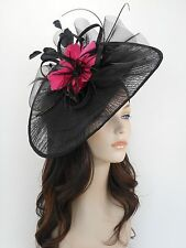 New Church Derby Wedding Pleated Fascinator Hat Headband 2450 Black / Hot Pink