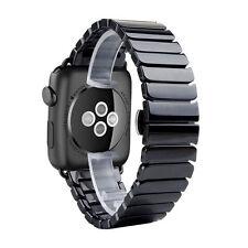 Céramique Noire Attache Bracelet Papillon Montre Apple Séries 1 Et 2 42mm