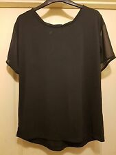 NEXT SMART NAVY BLUE SHEER SHORT SLEEVE PEEPHOLE TIE DETAIL BACK TUNIC TOP - 10