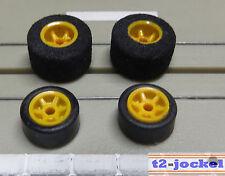Faller AMS -- 4 Felgen mit Reifen für G-Plus Motor, inkl. 2 neuen Hinterreifen