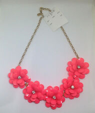 "NWT J. Crew Crystal Floral Burst Statement Necklace Neon Rose Coral 21"" Jewelry"