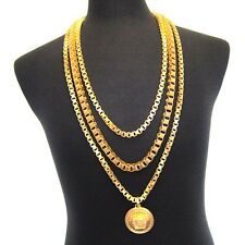 L-3366499 New Versace Uomo Triple Chain 24K Gold Plated Necklace