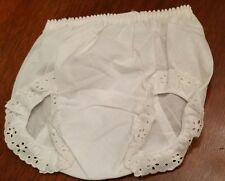 New White Eyelet Trimmed Bloomers Diaper Cover Baby Toddler Size 12-18 mon.