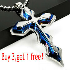 New Unisex's Men's Women Silver Blue Stainless Steel Cross Pendant Necklace Gift