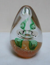 GOLD AVENTURINE FLAKE SATURN RINGS GREEN BUBBLES GLASS EGG PAPERWEIGHT 3.5""