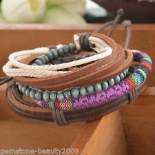 Women/Men`s 1Set Braided Adjustable Leather Bracelet Punk Casual Cuff