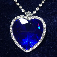14K White Gold Large Blue Heart Sapphire w Crystal CZ Halo Pendant Necklace A51