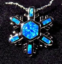 Sterling 925 Silver SF Pendant & Chain Blue Lab Fire Opal HOLIDAY SNOWFLAKE